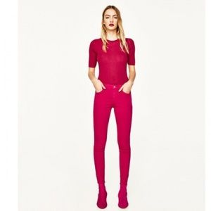 Zara dark skinny jeans fuschia 34/2 BNWT